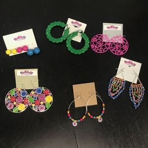 Jewelry - Set of 6 Colorful Earrings